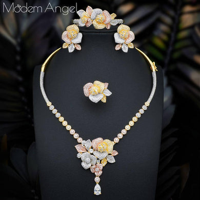 ModemAngel NEW Luxury Flower 4pcs African Cubic Zircon CZ Nigerian Jewelry sets For Women Wedding Dubai Gold Bridal Jewelry Sets