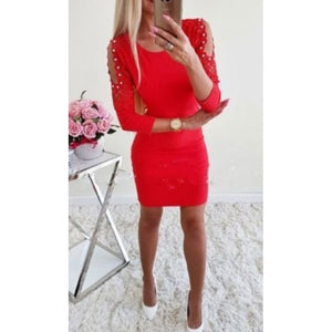 Meihuida Sexy Pearl Dress  Long Sleeve Winter Women Dresses Casual  O Neck Bodycon Pencil Dresses