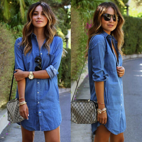 Factory Direct Sales Women Denim Jeans Dress Button Summer Long Sleeve Casual Tops Shirt Dress