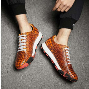 ourui crocodile   skull  male  Running shoes  Brush color  Genuine leather  lace-up  Sports shoes men shoes