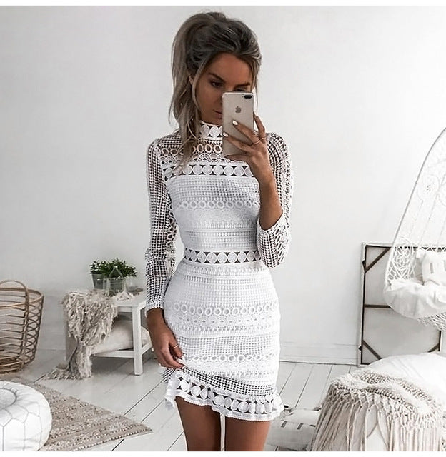 Lossky Sexy White Lace Stitching Hollow Out Party Dresses Elegant Women Short Mini Summer Spring Long Sleeve Clothes 2020 - Y O L O Fashion Store