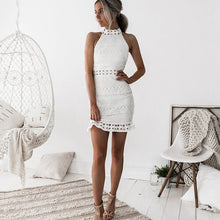 Load image into Gallery viewer, Lossky Sexy White Lace Stitching Hollow Out Party Dresses Elegant Women Short Mini Summer Spring Long Sleeve Clothes 2020 - Y O L O Fashion Store