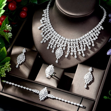 HIBRIDE Elegant Wedding Jewelry CZ Crystal White Gold-Color 4pcs Necklace Earring Set for Women Bridal Accessories N-1214 - Y O L O Fashion Store