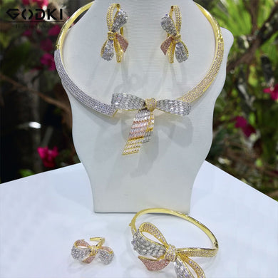 GODKI Super Luxury Bowknot 4pcs Jewelry Set Women Wedding Cubic Zirconia Dubai Gold Necklace Earring Bangle Ring Jewelry Sets - Y O L O Fashion Store