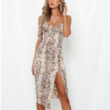 Load image into Gallery viewer, DeRuiLaDy 2020 Sexy Spaghetti Strap Snake Skin Print Women Dress Summer Sleeveless Bodycon Midi Club Party Dresses Ladies Casual - Y O L O Fashion Store