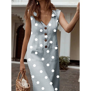 LAAMEI 2019 Summer Women's Dresses Elegant Dot Print Boho Dress Feminine Turn-down V-neck Dress Button Pocket Dress Vestidos