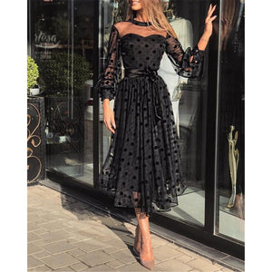 Sexy Women Lace Polka Dot Dress Ladies See-through Patchwork Puff Long Sleeve Party Midi Ball Gown Belted Dress Autumn Sundress