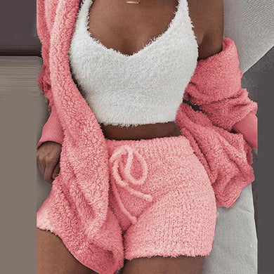3XL Women Coral Velvet Pajamas Set Autumn Winter Warm Pajamas Three Piece Set Sleepwear Crop Tops Short Pants And Coat #1223 - Y O L O Fashion Store