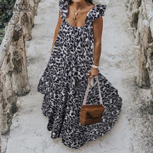 Load image into Gallery viewer, ZANZEA 2019 Summer Leopard Sundress Women Bohemian Polka Printed Maxi Dress Casual Female Sleeveless Robe Long Ruffles Vestidos - Y O L O Fashion Store