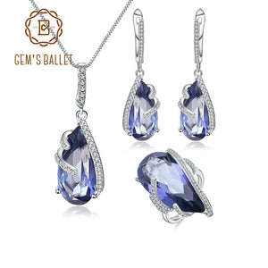 GEM'S BALLET Natural Iolite Blue Mystic Quartz Jewelry Set 925 Sterling Silver Earrings Ring Pendant Sets For Women Fine Jewelry