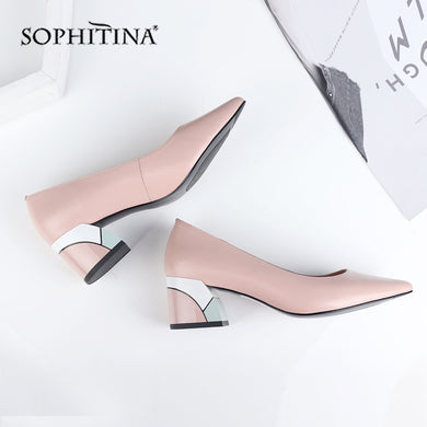 SOPHITINA Design Square Heel Pumps High Quality Genuine Leather Pointed Toe Pumps Comfortable Handmade Shallow Women Shoes C565