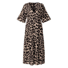 Load image into Gallery viewer, Plus Size Women Long Maxi Dress Celmia Sexy V-neck High Split Female Shirt Sundress Leopard Print Vestidos Party Robe Tops S-5XL - Y O L O Fashion Store