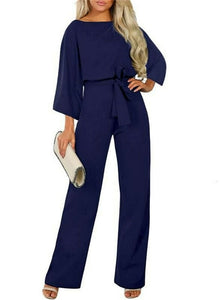 New Fashion Women High Waist Jumpsuit Ladies Office Wide Leg Party OL Playsuit Evening Party Jumpsuit