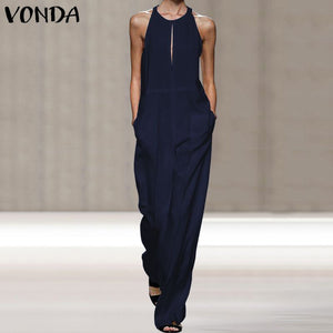 VONDA Summer Rompers Womens Jumpsuits Bohemian Overalls Casual Loose Straight Pants Playsuit Women's Trousers Plus Size