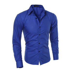 Fall Clothes Men Fashion Business Shirt Long Sleeve Slim Royal Blue White Solid Color Autumn Clothing XXL - Y O L O Fashion Store