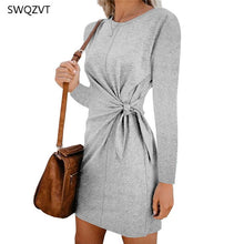 Load image into Gallery viewer, Fashion Women Mini Dress Casual Round Neck Waist Tie Spring Summer Women Dress 2020 New  Loose  Solid Women Short Dress vestidos - Y O L O Fashion Store