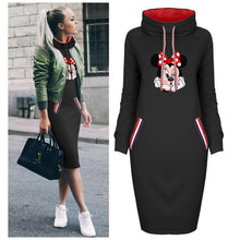 Load image into Gallery viewer, Spring Autumn Dress Women Plus Size Cartoon Minnie Print Dresses Vintage Bodycon Clothes Party Casual Woman Black Short Dress - Y O L O Fashion Store