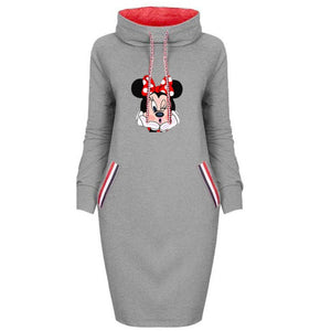 Spring Autumn Dress Women Plus Size Cartoon Minnie Print Dresses Vintage Bodycon Clothes Party Casual Woman Black Short Dress - Y O L O Fashion Store