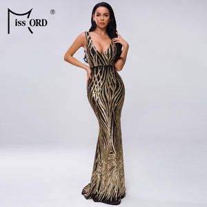 Missord 2020 Women Summer V Neck Off Shoulder Geometry Backless  Sequin Dress Female Elegant Maxi Dress Vestdios FT19300