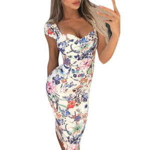 Women sexy strapless Floral Print Bodycon Dress Ladies sleeveless Bandage party Dress Elegant knee-Length Vintage dress #0613