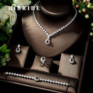 HIBRIDE Fashion Simple AAA Cubic Zirconia Crystal Women Earrings Necklace Set for Brides Wedding Costume Jewelry Set N-329 - Y O L O Fashion Store