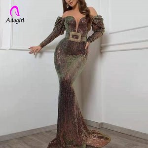 Sequined 2019 Women Autumn Sparkly Evening Long Dress Vintage Sexy Deep V Neck Elegant Party Night Dresses Women Mermaid Dresses - Y O L O Fashion Store