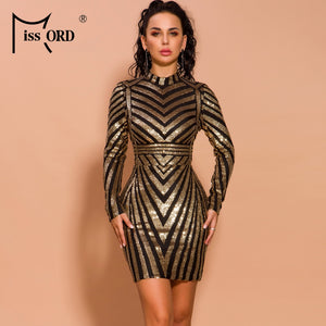Missord 2020 Autumn and Winter Women O Neck Long Sleeve Sequin Striped Dresses Female Elegant Mini Dress FT19731