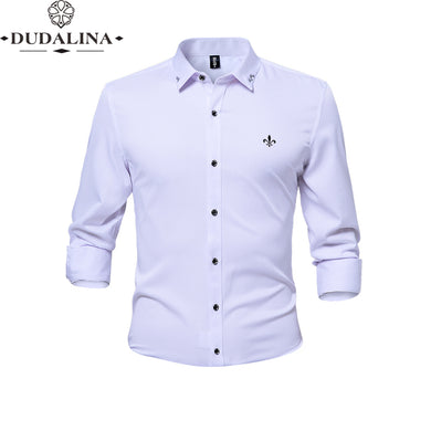 Anti-wrinkle and non-iron Blusa Camisa Social Masculina Dudalina Long Sleeve Slim Fit Shirt Men Floral clothing White Male - Y O L O Fashion Store