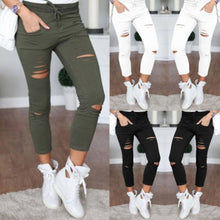 Load image into Gallery viewer, Fashion Streetwear Women Leggings Ladies Stretch Faded Ripped Slim Fit Skinny Denim Jeans Pants New - Y O L O Fashion Store
