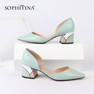 SOPHITINA Sexy Pointed Toe Pumps High Quality Sheepskin Fashion Shallow Casual Square Heel Shoes New Hot Sale Woman Pumps PC162