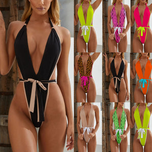 Bandage Leopard Sexy One Piece Swimsuit Women Swimwear Bikini Bathing Suit Swimming Beach Badpak Swim Suit Women Monokini 2019 - Y O L O Fashion Store