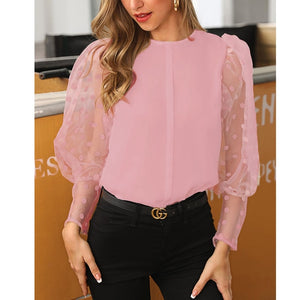 See-through Women Mesh Sheer Blouse Top Shirts o-neck Lace Puff Sleeve Tops Woman Summer Casual Blouses Female - Y O L O Fashion Store