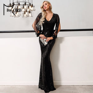 Missord 2020 Sexy V Neck Long Sleeve Sequin Dresses Bodycon  Dress Elegant Maxi Party Dress  FT20032-1