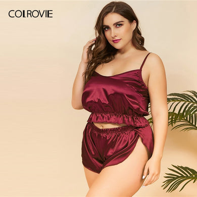 COLROVIE Plus Size Ruffle Hem Satin Cami Top With Shorts Women Burgundy Pajamas Set 2019 Sexy Sets Female Sleepwear - Y O L O Fashion Store