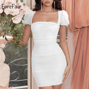 Forefair Puff Sleeve Mesh Sexy Dress Transparent Mini Square Neck Vintage 2020 Fashion Club Party Bodycon Dress Women - Y O L O Fashion Store