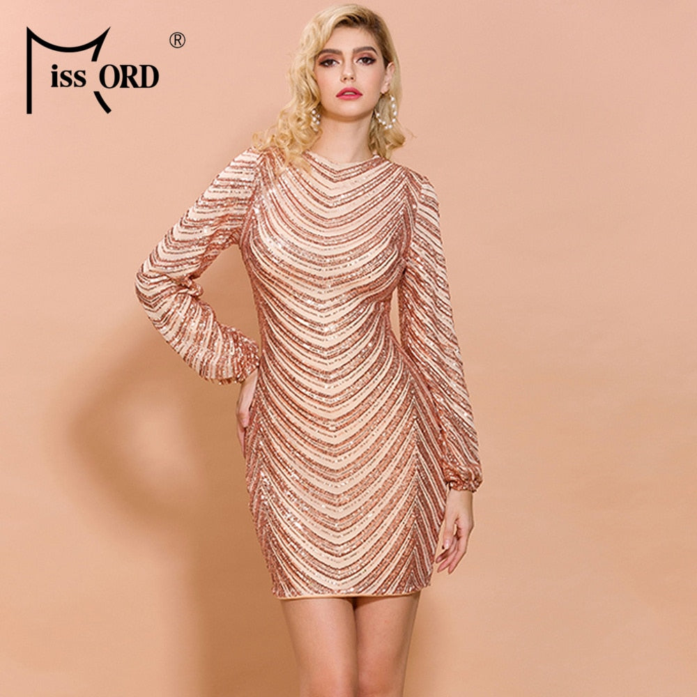 Missord 2020 Women Sexy O Neck  Long Sleeve Sequin Striped Dresses Female Elegant Mini Bodycon Dress  FT19835