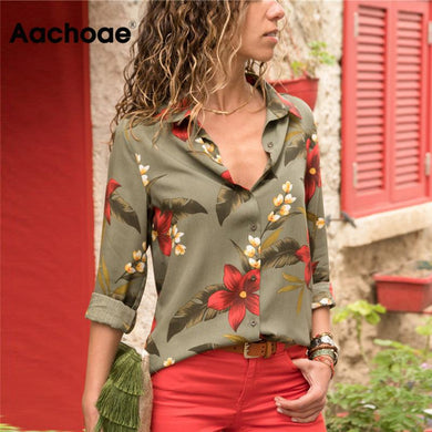 Womens Tops and Blouses 2020 Summer Floral Print Chiffon Blouse Long Sleeve Turn Down Collar Office Shirt Blusas Mujer Plus Size
