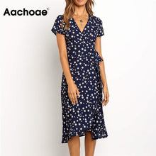 Load image into Gallery viewer, Summer Long Dress 2020 Print Boho Style Wrap Beach Dress Sexy Side Split Elegant Bodycon Long Party Dress Sundress Vestidos