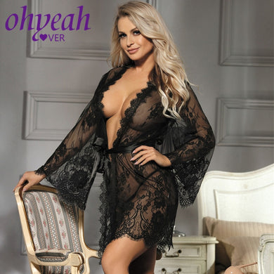 Lingerie Bathrobe Women Nightgown Plus Size Long Sleeves Floral Night Gown Sexy Women See Through Lace Dressing Robe RL80528 - Y O L O Fashion Store