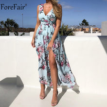Load image into Gallery viewer, Forefair V Neck Long Split Dress Floral Print Summer Spaghetti Strap Party Pink Chiffon Elegant Casual Maxi Dresses Beach - Y O L O Fashion Store