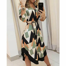 Load image into Gallery viewer, Geometric Casual Stright New Dress Women's Long Shirt Dress Wave Print Long Sleeve Casual Holiday Midi Ladies Dress Hot - Y O L O Fashion Store