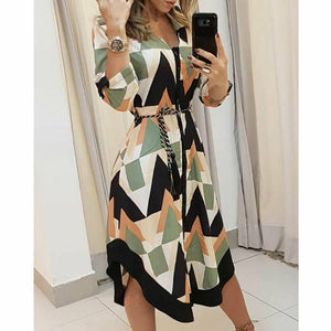 Geometric Casual Stright New Dress Women's Long Shirt Dress Wave Print Long Sleeve Casual Holiday Midi Ladies Dress Hot - Y O L O Fashion Store