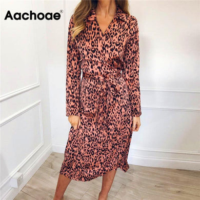 Women Leopard Dress 2020 Sexy Bandage Party Long Dresses Vintage Long Sleeve Beach Chiffon Dress Sundress Vestidos de fiesta