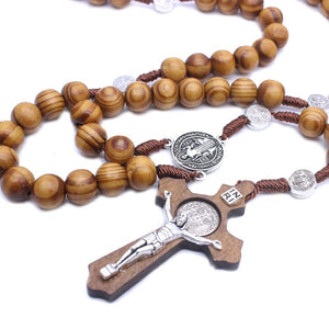 Fashion Handmade Round Bead Catholic Rosary Cross Religious Wood Beads Men Necklace Charm Gift - Y O L O Fashion Store