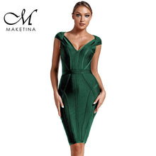 Load image into Gallery viewer, Maketina 2020 New Summer Bandage Dress Women Sexy V Neck Green Bandage Dress Striped Bodycon Evening Party Bandage Dress