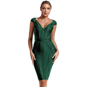 Maketina 2020 New Summer Bandage Dress Women Sexy V Neck Green Bandage Dress Striped Bodycon Evening Party Bandage Dress