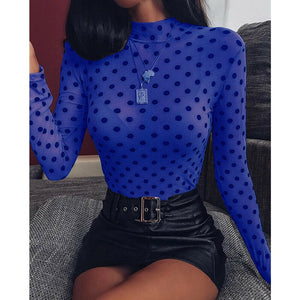 Sexy Women Casual See-through Mesh Sheer Top Long-Sleeve Perspective Tee Shine Basic Chiffon Shirt Slim Fit Clubwear hot - Y O L O Fashion Store