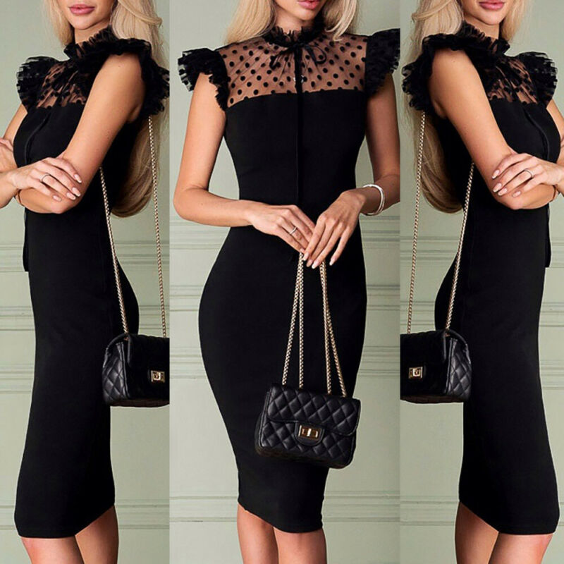 Sexy Women Mesh Dot Dress Bodycon High Waist Evening Party Sleeveless Midi Pencil Dress - Y O L O Fashion Store