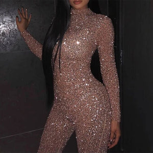 2020 Women's New Style Skinny Jumpsuit Long Sleeve Bronzing Sequins Glitter Solid Color Sexy Round Collar Ladies Party Rompers - Y O L O Fashion Store