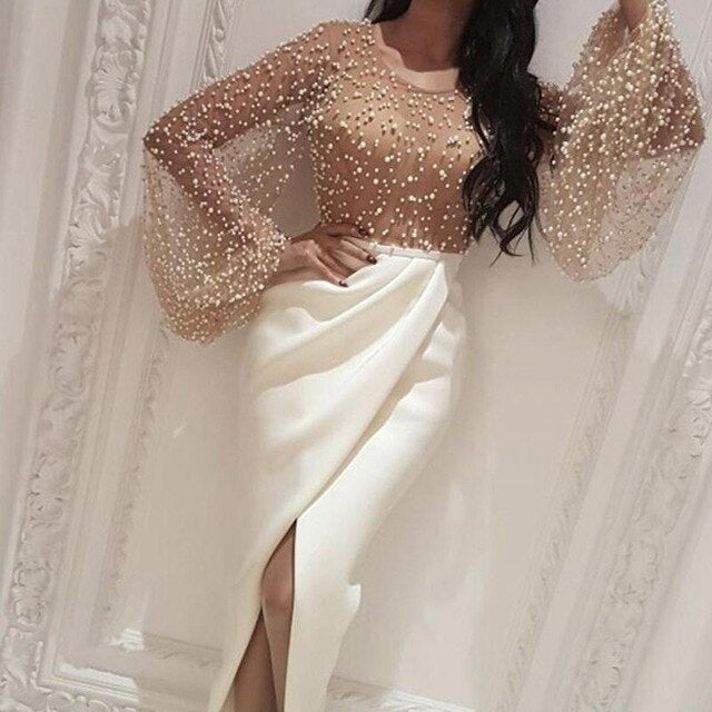 2020 Autumn Women Elegant Formal Gown Maxi Dress Female Stylish Long Party Dress Beaded Embellished Mesh Patchwork Slit Dress - Y O L O Fashion Store